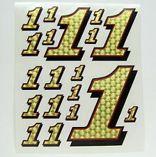 Racing Numbers Number 1 Decal Sticker Pack Gold Red Black 1/8 1/10 RC models S05