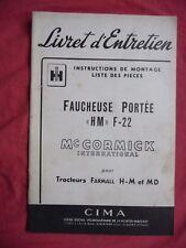 livret d'entretien Mc CORMICK INTERNATIONAL faucheuse HM F-22 tracteur FARMALL