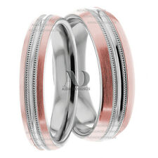 14K Gold White & Pink 5mm & 7mm Wide With Milgrain Matching Wedding Band Set