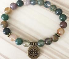 2018 new natural INDIA AGATE gemstone man Mala Bracelet Buddhist lucky jewelry