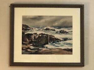 Superb signed listed John Cuthbert Hare Cape Cod watercolor seascape 1908-1978