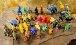 37 Vintage Plastic & Hard Rubber Toy Dinosaurs Prehistoric Animals 1970s 80s