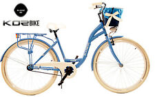 "28"" City Bike Town Ladies Hybrid Dutch Vintage Cycle Kozbike With Basket Blue"