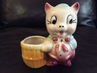 Vintage Retro Shawnee Pottery Pig Planter With Basket circa 1950s