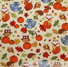 BonEful Fabric FQ Cotton Flannel Quilt Cream Brown Orange Pumpkin Leaf Animal US