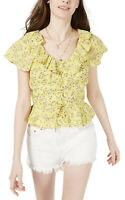 Planet Gold Women's Juniors Yellow Floral Lace Up Ruffle Blouse Flutter M NWT