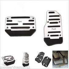 One Set Silver Race Sport Autos Non-Slip Brake Foot Pedal For Automatic Vehicles