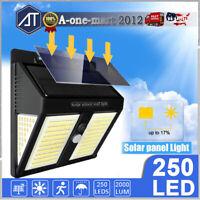 250 LED Solar Power Lights Outdoor PIR Motion Sensor Garden Wall Lamp Waterproof