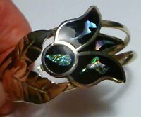 VINTAGE MEXICO STERLING SILVER ABALONE INLAY & ENAMEL CUFF BRACELT!