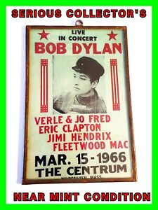 ORIGINAL 1966 Bob Dylan Concert Handbill Jimi Hendrix & More Metal & Glass Frame