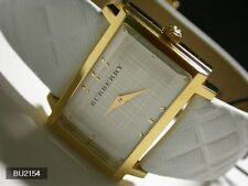 Burberry Women's Signature Watch White Nova Check Gold Tone Rectangle BU2154