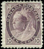 1893 Mint H Canada F+ Scott #83 10c Queen Victoria Numeral Issue Stamp