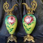 ANTIQUE VICTORIAN HAND PAINTED ROSES BRISYOL GLASS ORNATE METAL MANTEL EWER VASE