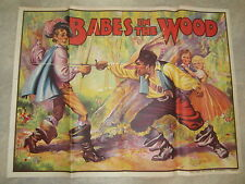 Original Old Vintage 1930's  BABES in the WOOD - THEATRE Show POSTER - Pantomime