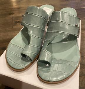 NEW Calvin Klein Women's Daria Croc Embossed Heeled Sandals Petal Green Size 7