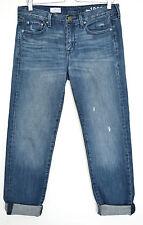 Mesdames Gap Sexy Boyfriend Bleu Foncé Déchiré Effiloché CROP jeans Taille 10 W28 L32