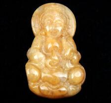 Giada Gialla Intagliati Ciondolo Seduto Kwan-Yin Misericordia Buddha Contiene