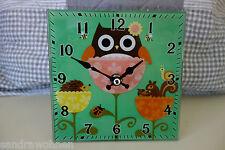 Schöne Kleine Uhr Tischuhr Kinderuhr Standuhr Eule 4eckig Glas 15x15cm Retro Neu