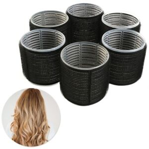 6x JUMBO SELF GRIP HAIR ROLLERS Extra Large 60mm Bouncy Curl Salon Styling Tools
