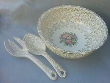 Vintage Homer Laughlin Royal China Gold Salad Serving Bowl with Spoon Fork Tongs