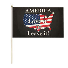 "6 Pack Trump America Love It Or Leave It Black 12""x18"" Stick Flag Wood Staff"