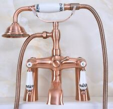 Red Copper Clawfoot Bath Tub Faucet with Handshower - Deck Mounted Una176