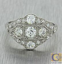 1920s Antique Art Deco Solid Platinum 1.16ctw Diamond Cluster Dome Band Ring