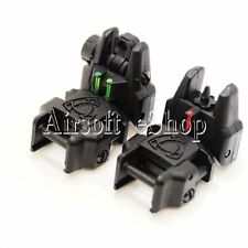 Airsoft AEG APS Rhino Front Rear Sight with Fiber Optic Set Black Green/Red