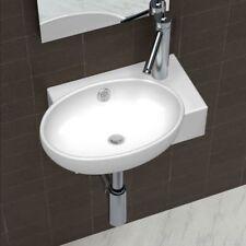 Sanitari bagno lavandino bagno rotondo ceramica bianca / nera foro trabocco