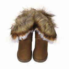 USPS Women Fur Lined Flats Shoes Warm Snow Boots Autumn Winter Suede Ankle Shoes