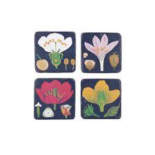 Set of 4 Dark Botanical Coasters  by Sass & Belle