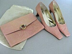 RODO ladies pink crocodile skin heeled shoes and matching handbag Sz 5.5UK
