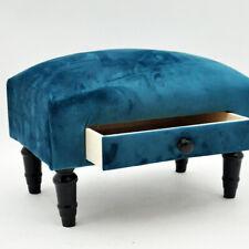 Blue Velvet Small Footstool With Dark Solid Wood Legs Foot Stool