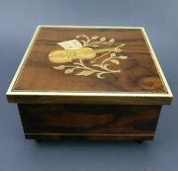 Vintage Inlaid Italian Woodwork Swiss Movement MAPSA Music Jewlery Box
