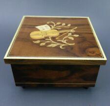 Vintage Inlaid Italian Woodwork Swiss Movement MAPSA Music Jewlery Box