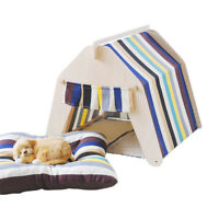 PLAYDO Stripe Washable Summer Kennel Dog Cat House Puppy Pet Teepee Tent Mat Bed