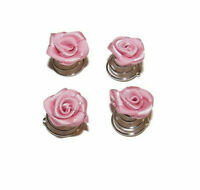 PINK ROSEBUD HAIR COILS FLOWER TWISTS - WEDDING ACCESSORIES BRIDESMAID PROM