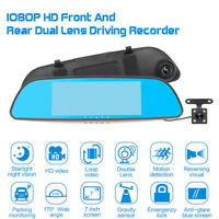 "7"" 1080P Car DVR Dual Lens Rear View Mirror Video Camera Recorder Dash Cam 170°"