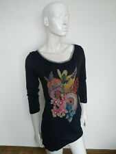 DESIGUAL women's top/tunic 3/4 sleeve size S blue