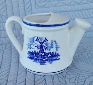 """VYG Delft Style Blue Windmill Porcelain Watering Can Vase Blue and White 3"""""""