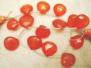 14 CARNELIAN Chalcedony Faceted Hearts (14-12mm long) 115Ct Excellent Quality