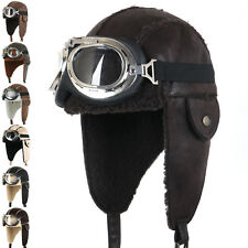 80c2225cb76a81 Material: Faux Leather. ililily Aviator Hat Brown Snowboard Fur Ear Flaps  Trooper Trapper Pilot Goggle