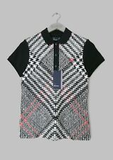 FRED PERRY WOMENS PRINCE OF WALES CHECK POLO SHIRT -UK 8/EU 36- NEW -RRP £70-