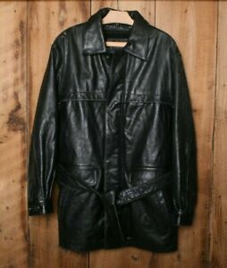 WILSONS Black Leather Thinsulate Insulated Parka Car Coat Men's Sz. M