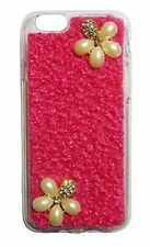 Big Pearl Jewelled Flower Diamond Case w Rhinestones  Soft TPU Case For iPhone 6