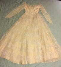 Unique Vintage Original 1950s Antique Ivory Lace Satin Tulle Wedding Dress