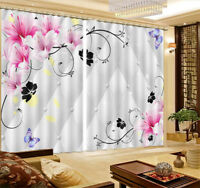 Lilies And Butterflies 3D Curtain Blockout Photo Printing Curtains Drape Fabric
