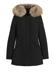 Giubbotto Parka donna Arctic invernale trench nero giacca piumino con pelliccia