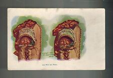 1904 Mint Embossed Postcard Native American Indian Crying and Smiling Babies