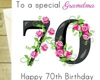 To a special Grandma 70th happy BIRTHDAY glitter flower Card white age 70